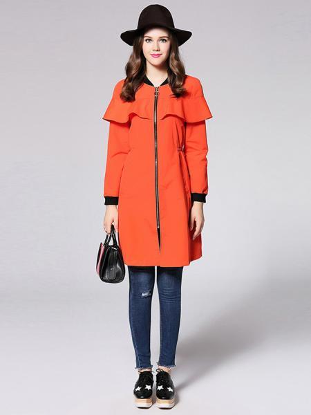 Zipper Long Sleeves Ruffles Layered Slim Long Trench Coat for Women