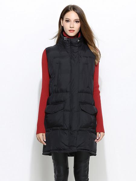Zipper & Press Studs Closure Loose-fit Thick Women Puffer Waistcoat