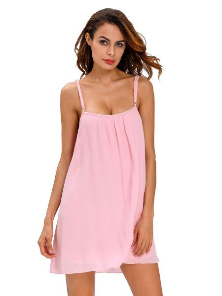Lightweight Sleeveless Camisole Neckline Flowing Crinkled Beach Sundress Women