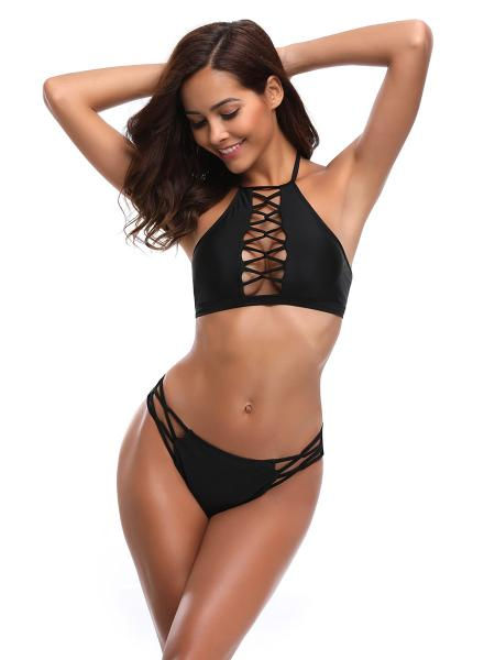 Crisscross Details Halter Neckline Sexy Cut-out High-neck Womens Bikini Swimsuit
