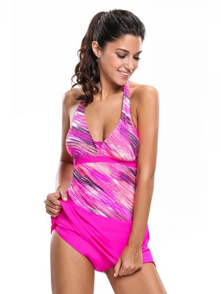 Halter Neckline Printed Removable Bra Padding Women Tankini Swimtuis with Skirts