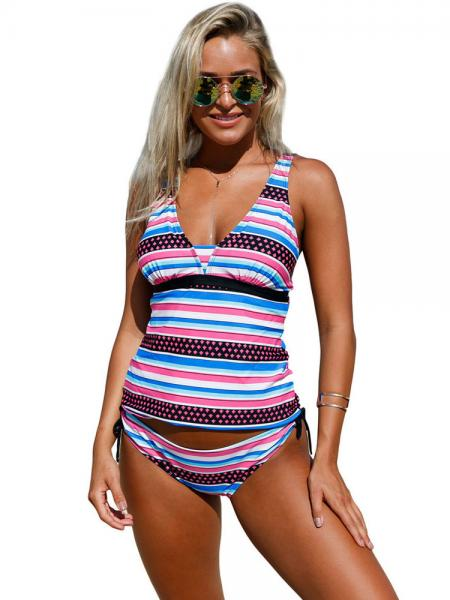 Pull Over Styled Adjustable Shoulder Straps Padded Bandeau Lace-up Tankini Set