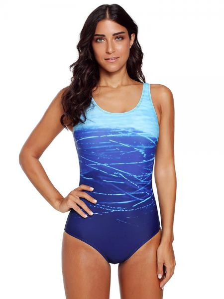 Gradient Printed Padding Cups & Crossed Straps Cutout Back One Piece Swimwear