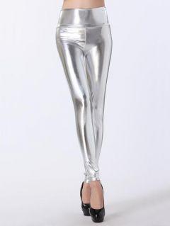 High Waist Skinny Stretch Silver/Gold/Black Liquid Leggings