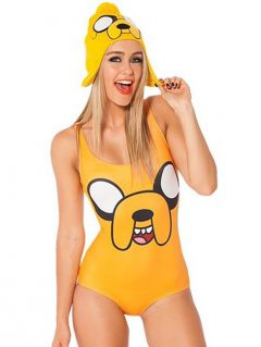 Yellow Jake Teddy Printed Elastic Cheap One Piece Bathing Suits
