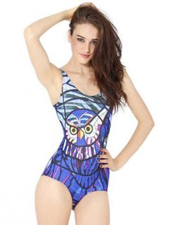 Cute Nightowl Digital Print Black Milk Full Piece Swimwear