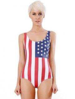 USA Flag Stars and Stripes Print One Piece Swimwear