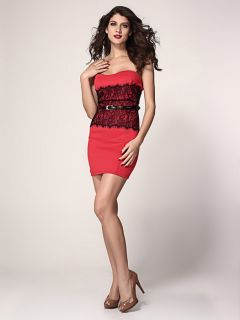 High-waisted Lace Appliques Strapless Eyelash Waist Cincher Bodycon Mini Dresses