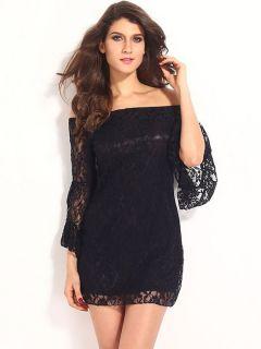 Vilanya High Waist Slash Neck Flare Sleeve Hollow Out Lace Off The Shoulder Mini Dresse