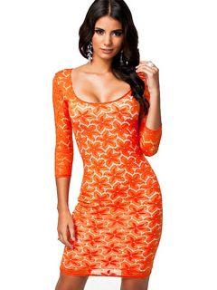 Vilanya High-waist Three Quarter Sleeved Floral Lace Overlay Zipper Back Orange Mini Dress