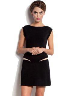 Black Sleeveless Oneck High Waisted Stretchy Mesh Insert Back Mini Dresses
