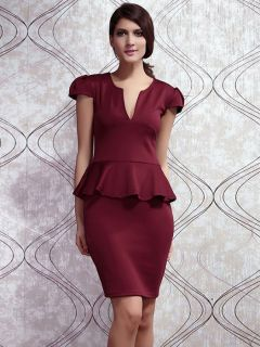 Vilanya Girls High-waisted Plunging V Neck Short Sleeve Ruffles Waistline Peplum Midi Dresses