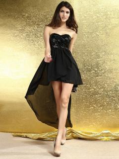 Strapless Zipper Back Double Layer Chiffon Irregular Bottom Padded Top Evening Sequin Maxi Dresses