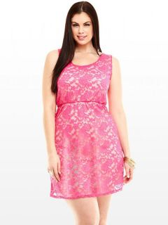 Vilanya Pink O-neck Sleeveless Draped Floral Lace High Waisted Cutout Back Mini Skater Dress