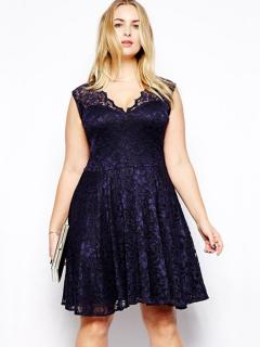 High Waisted Scalloped V-neck Sleeveless Hollow Out Lace Stretchy Midi Womens Plus Size Dresses