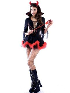 Vilanya 3pcs Marabou Trim Half Sleeved Lacing Front Miss Iblis Adult Female Halloween Costumes