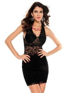 Trendy Sleeveless High Waist V-neck Sexy Purple / Black Embroidery Lace Mini Bodycon Dress