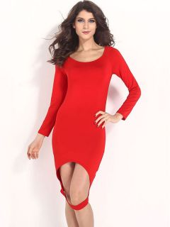 Scoop Neckline High Waist Midi Sexy Cutout Front Hem Long Sleeve Red Bodycon Dress