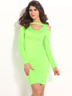 Ladies Green Long Sleeves High Waisted Cut Out Cold Shoulder Midi Dress Bodycon Sale