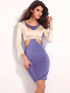 Contrast Color Three Quarter Sleeved Hollow Out Women Midi Dress Shop Bodycon Dresses