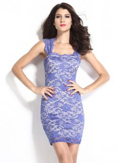 Vintage Nude Illusion Sleeveless Floral Lace Surface Contrast Color Bodycon Mini Dress
