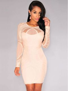 079a8377d Sexy High Waist Nude Illusion Long Sleeved Lace Hollow Out Bodycon Mini  Dress Apricot