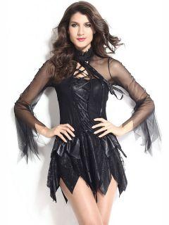 Adult 2 PCS Flattering Black Fallen Angel Halloween Costume Womens