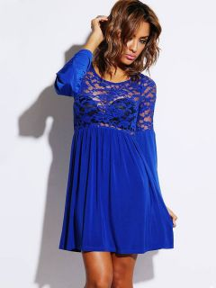 Long Flare Sleeves Pleated Skater Dress With Sheer Lace & Ruched Details