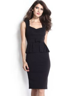 Black Sleeveless Ruched Chest High Waisted Bow Ruffles Waistline Midi Peplum Dresses Ladies