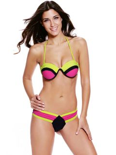 Cheap Multi Colors Splicing Adjustable Halter Top & Low Rise Bottom Bikinis
