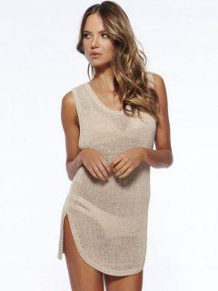 Sleeveless Keyhole Mini Length Knit Bathing Suit Coverups with Slit