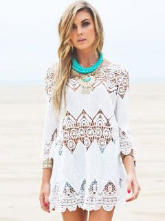 Three Quarter Sleeves Hollow Out Bohemian Mini Length Crochet Coverups
