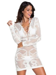 White Crochet Long Sleeves Sheer Knitted Short Tunic Beach Cover-up