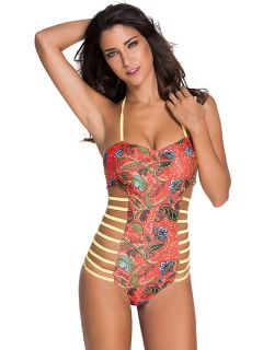 Retro African Tribal Printing Halter Monokini with Multi Straps Cutout Sides