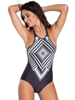 Black High Neck Low Back One Piece Swimsuit with White Geometric Print Front