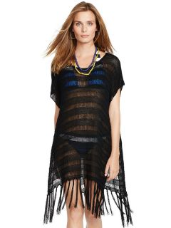 Bohemian Inspired Short Sleeve Flirty Fringed Crochet Sheer Poncho Coverups
