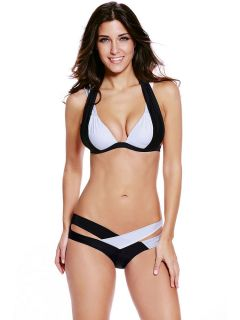 Fashion Colorblock Double Straps Pushup Padded Two Pieces Bikinis Women