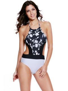 High Neck Floral Printed Halter Padded High Cut One Piece Swimsuit Ladies