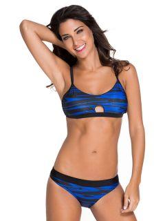 Sporty Style Fastlane Banded Cutout & Padded Two Color Printed Bikini Set