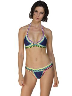 Multicolor Handmade Crochet Triangle Halter Neoprene Latex Two Piece Bikinis