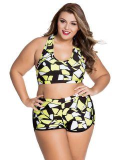 Sporty Printed Bikini with Pushup Padded Racer Back Top & High-waist Bottom