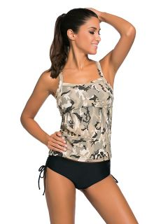 Body Slimming Camo Printing Removable Padded 2 Pieces Tankini Swimming Suit