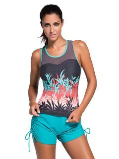 Mesh Inserts High Scoop Neckline Sporty Racerback Padding Tankini Top Sale