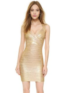 Shining Foil Panel Sleeveless Petit Celebrity Sexy Bodycon Bandage Dress