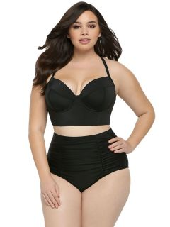Vintage Inspired Padded & Underwire Bikini Top and Ruched High-waist Bottom