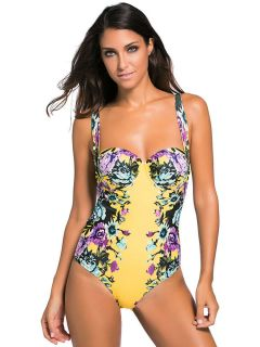 Vintage Rose Floral Printed Padded & Underwired One Piece Women Bathing Suit