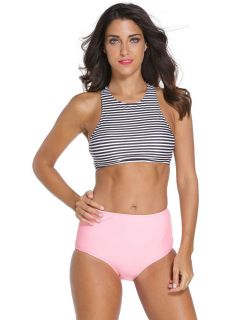 Women Bikini Set with Highneck Racerback Black White Top & High Waist Pink Bottom