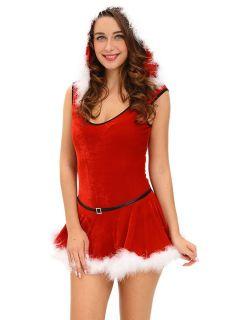 2 Pieces Velvet Sleeveless Hooded Jumpsuit & Skirt Christmas Costume Set