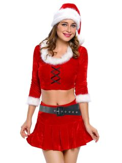 Four Pieces Three-quarter Sleeves Crop Top & Sexy Skirt Xmas Costume Set