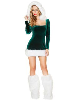 Long Sleeves Hooded Mini Dress and Legs Warmwears Elf Xmas Costume Set